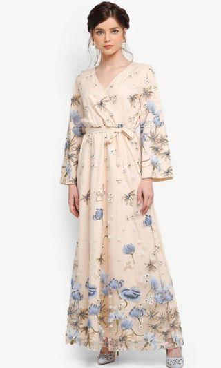 Zalia embroided wrap dress