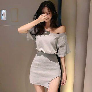[PO] 2019 summer style off-shoulder dress with split skirt