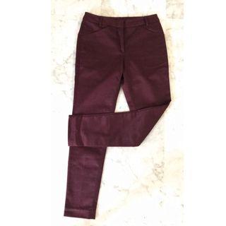 G2000 GG5 Three - Quarter Deep Red Wine Colour Formal Office Wear Pants