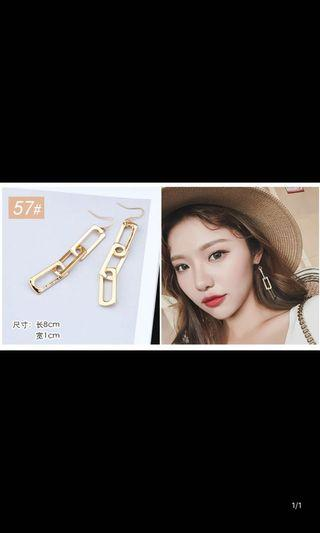 BN Gold Rectangle Chain Statement Earrings