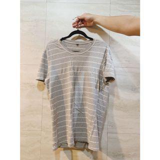 條紋短袖上衣 灰色短袖上衣 T恤