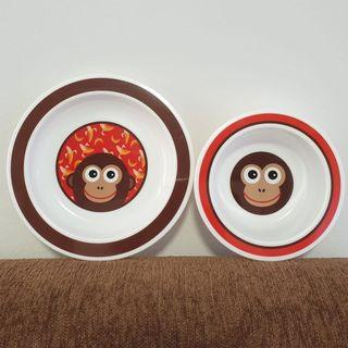 Pureen Skittle Monkey Baby Feeding Bowl & Plate Set
