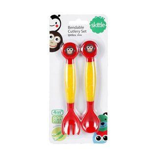 Pureen Skittle Monkey Bendable Children / Kids / Toddler / Infant / Baby Cutlery Feeding Set - Fork & Spoon (For 4 Months+ Baby)
