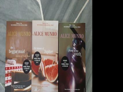 Alice Munro books: Moons of Jupiter, Friend of My Youth, The Beggar Maid