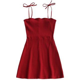Red Ribbed Tie Up Spag Dress