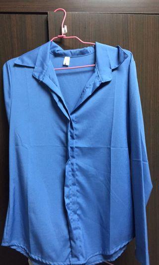 韓版藍色襯衫