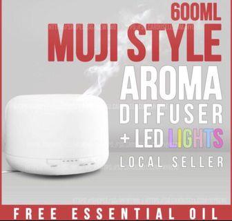 Ready stock-Muji style diffuser 600ml humidifier ultrasonic Aroma + free Essential Oil  x1