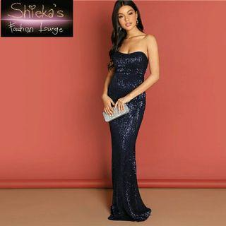 Navy Blue Sequined Maxi Dress