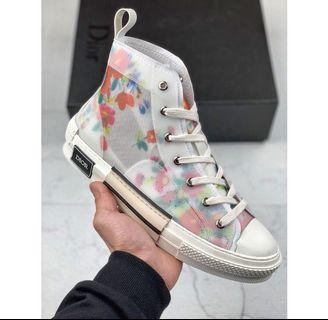 Dior x kaws floral high-top sneakers