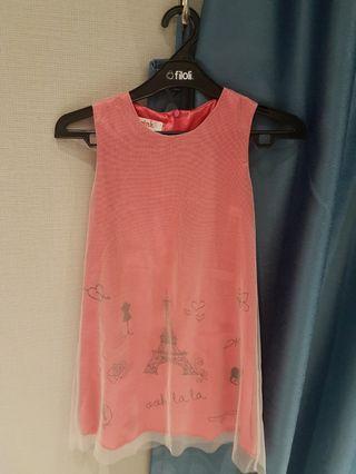 Girls pink net dress size 8
