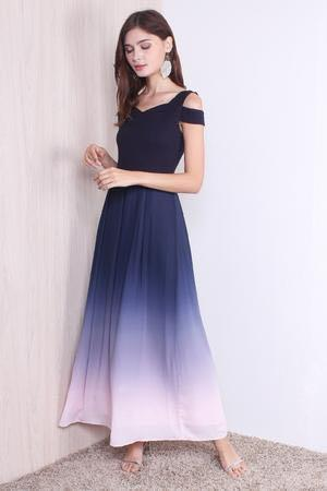 🚚 Cold Shoulder Ombre Maxi Dress In Navy/Pink