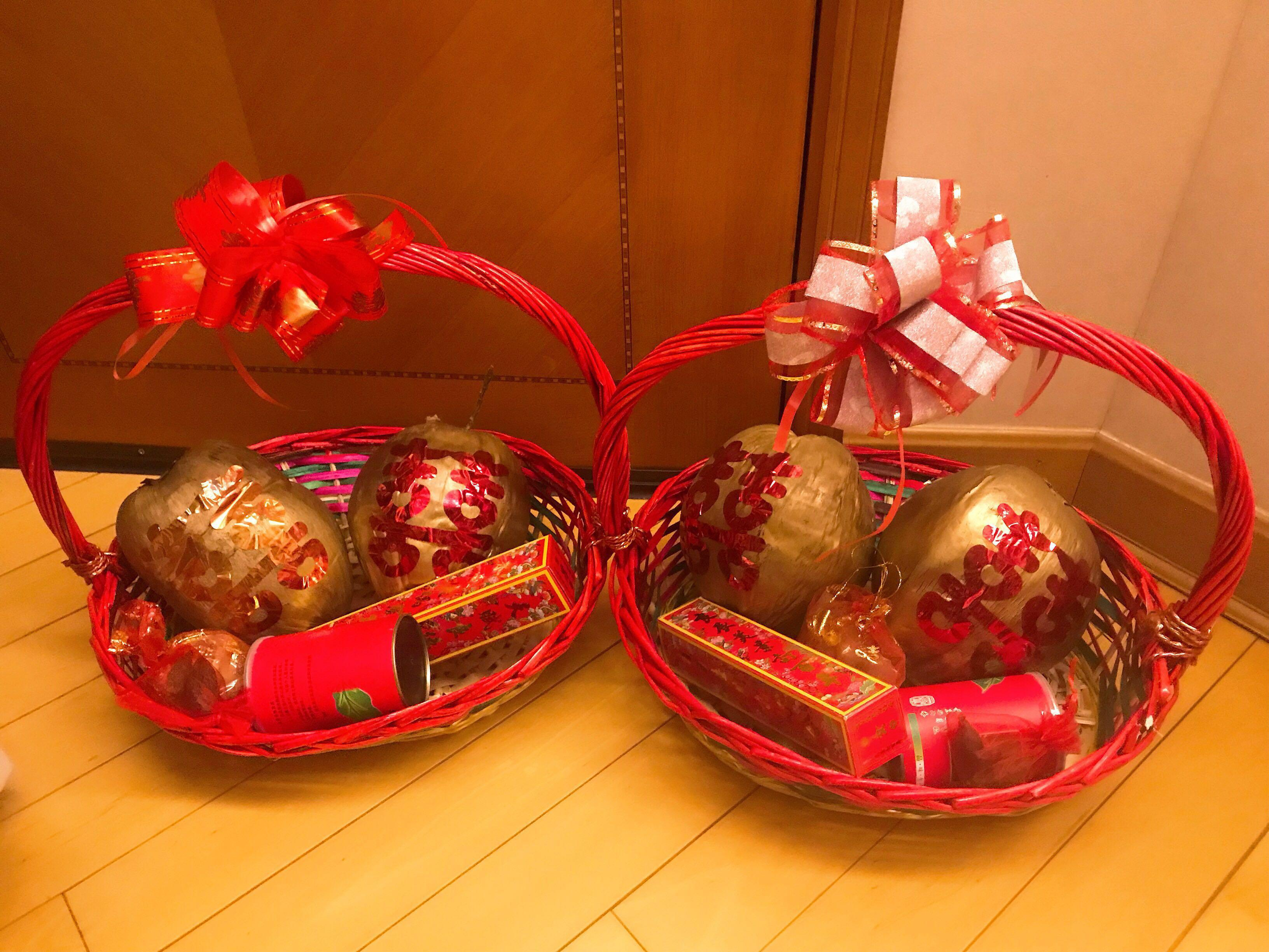婚禮物資 過大禮 籃子 金椰子 茶葉 四京果 檳榔 男女對聯