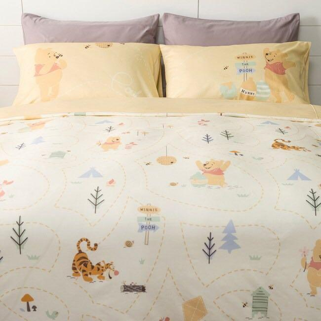 台灣直送 HOLA 迪士尼系列 維尼森林純棉床被組 雙人 Winnie the Pooh