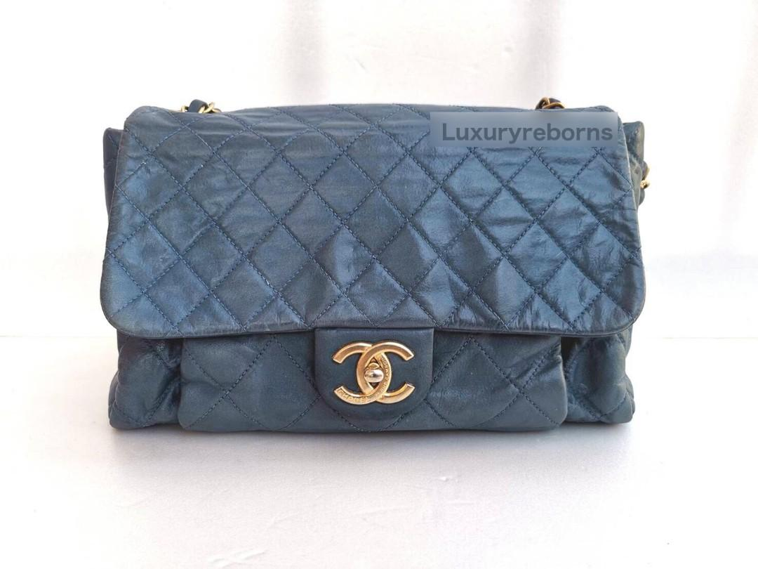 Authentic Chanel Iridescent Calfskin Large Chic Quilt Flap Blue Bag