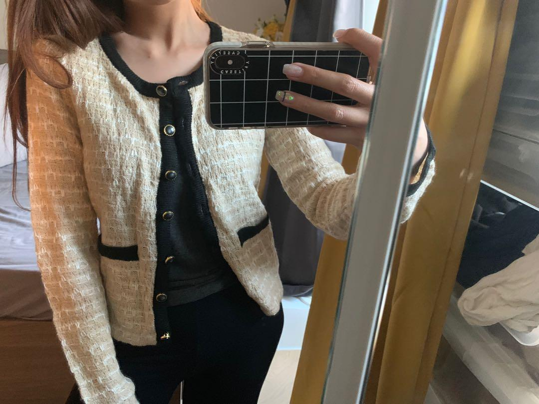 Beige and black line work style cardigan