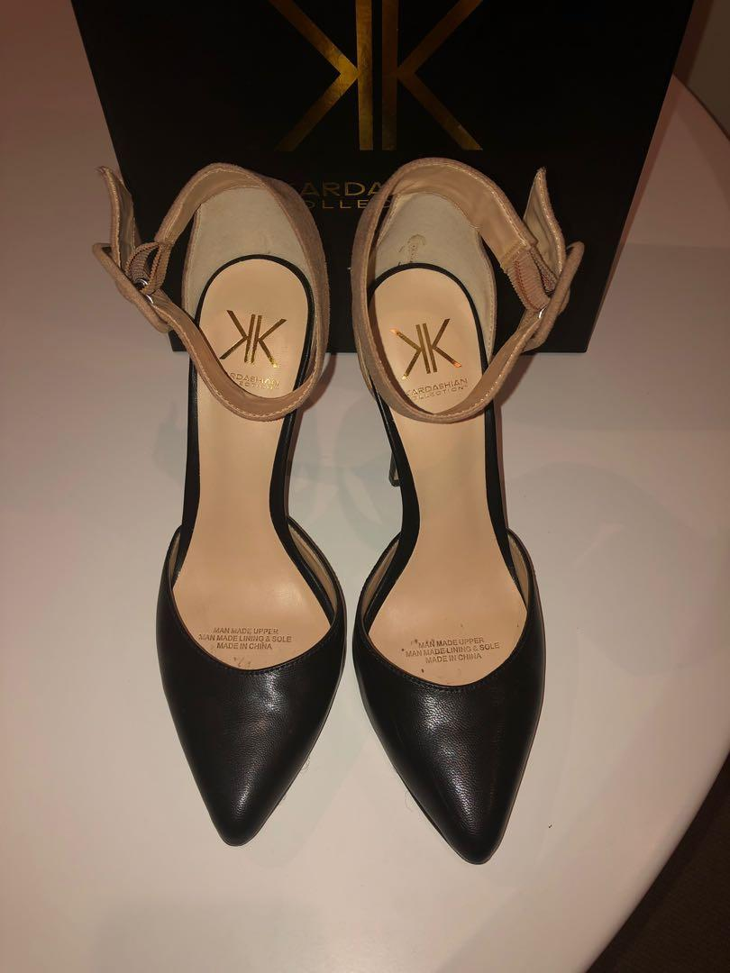 Black and camel stiletto, pointed toe with ankle strap
