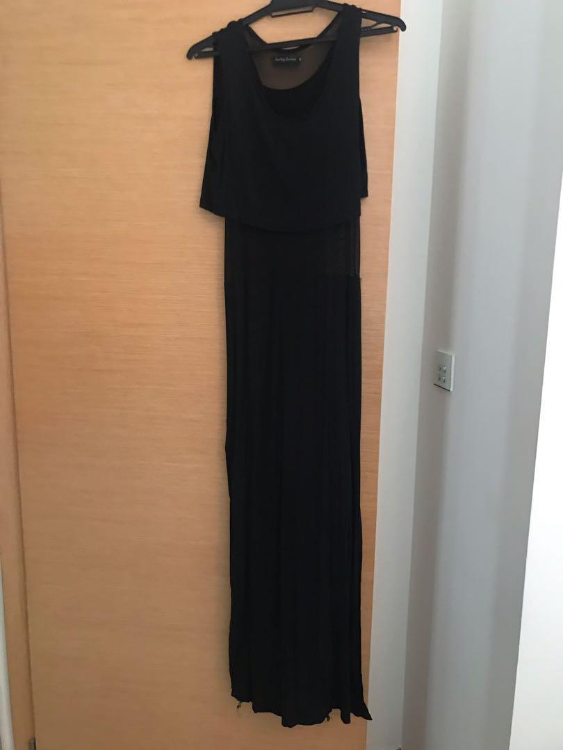 Black maxi partial mesh dress