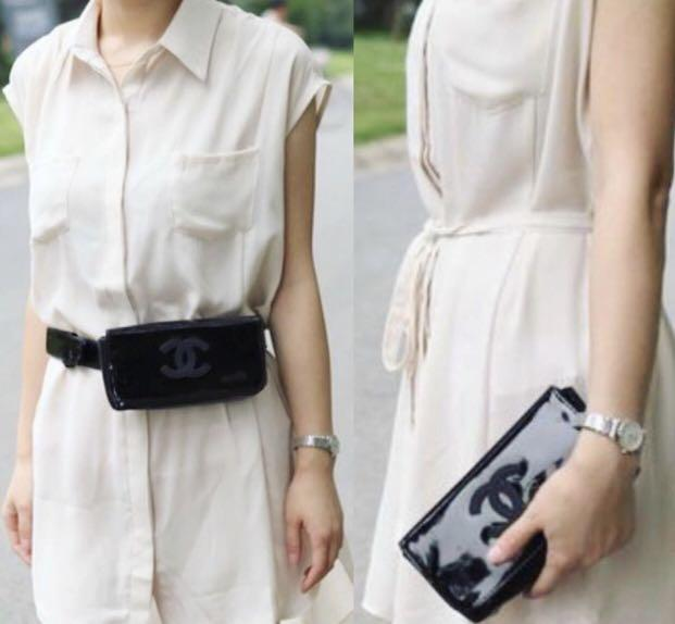 754ba6b3e42b 💎Chanel VIP Gift Black Patent Waist/Bum/Fanny Pack Bag | Clutch/Handbag💎  on Carousell