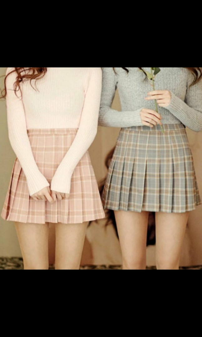 2a3ed9c410 Checkered pleated skirts grey pink, Women's Fashion, Clothes, Dresses &  Skirts on Carousell