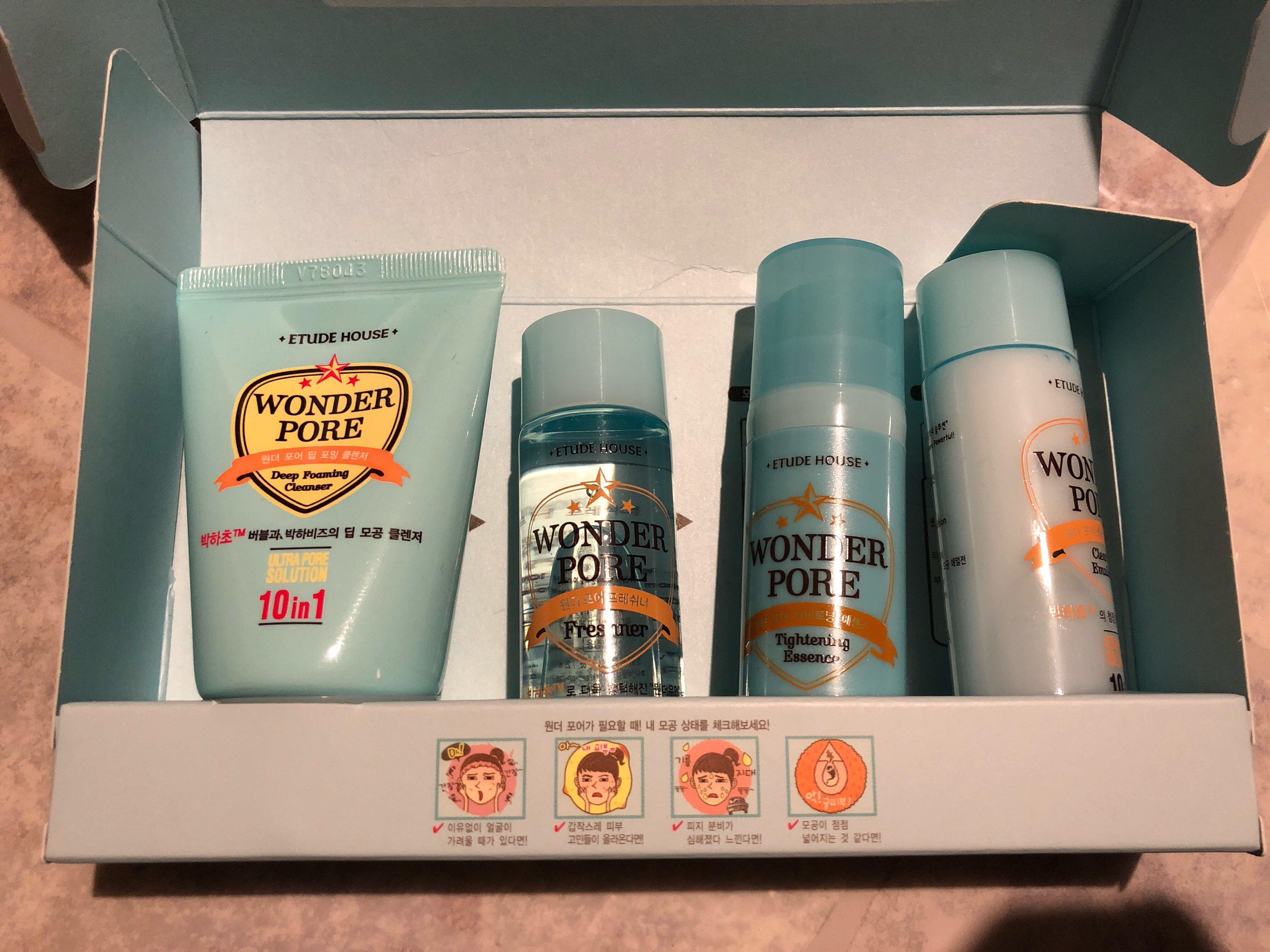 Etude house wonder pore kit cleanser freshener essence emulsion