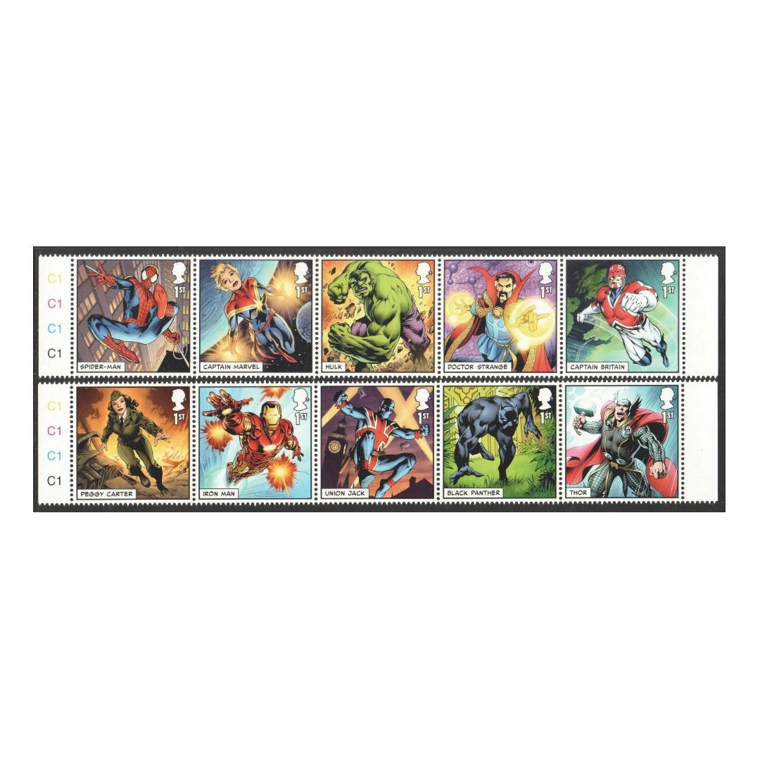GREAT BRITAIN UK 2019 MARVEL COMICS STRIP 2 X SE-TENANT COMP. SET OF 10 STAMPS IN MINT MNH UNUSED CONDITION
