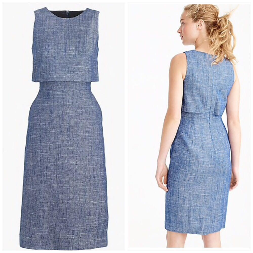 J. Crew Blue Linen Dress Sz 6 Small
