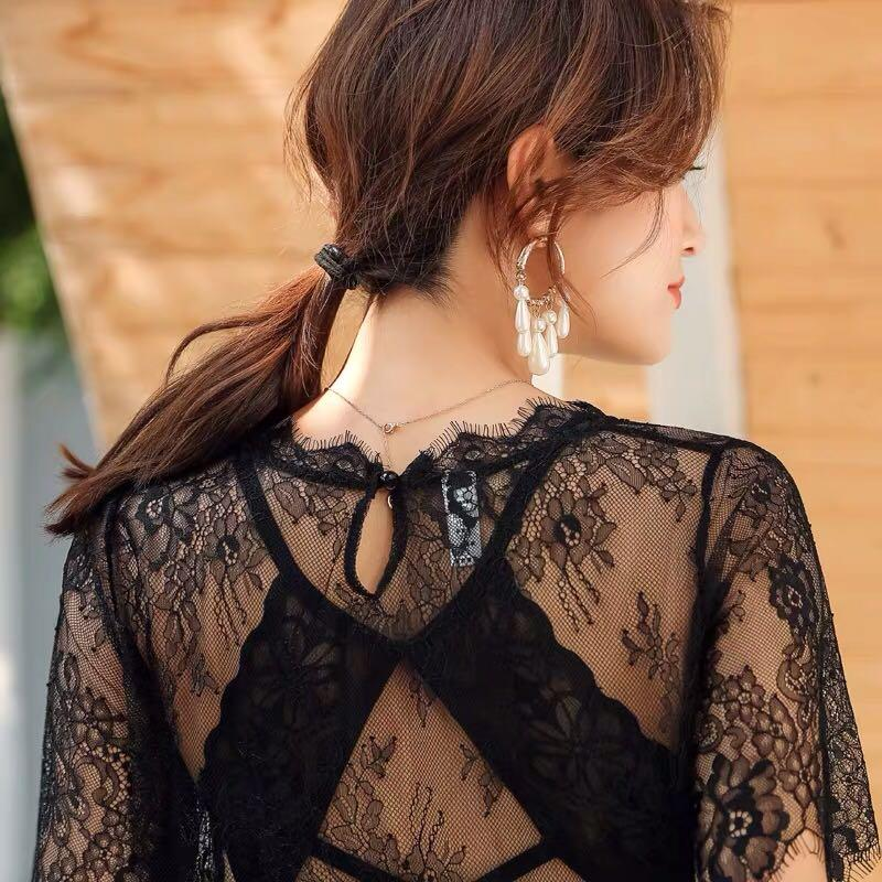 Lace top with Lace Bra black 黑色 短袖  sexy hot  pre order