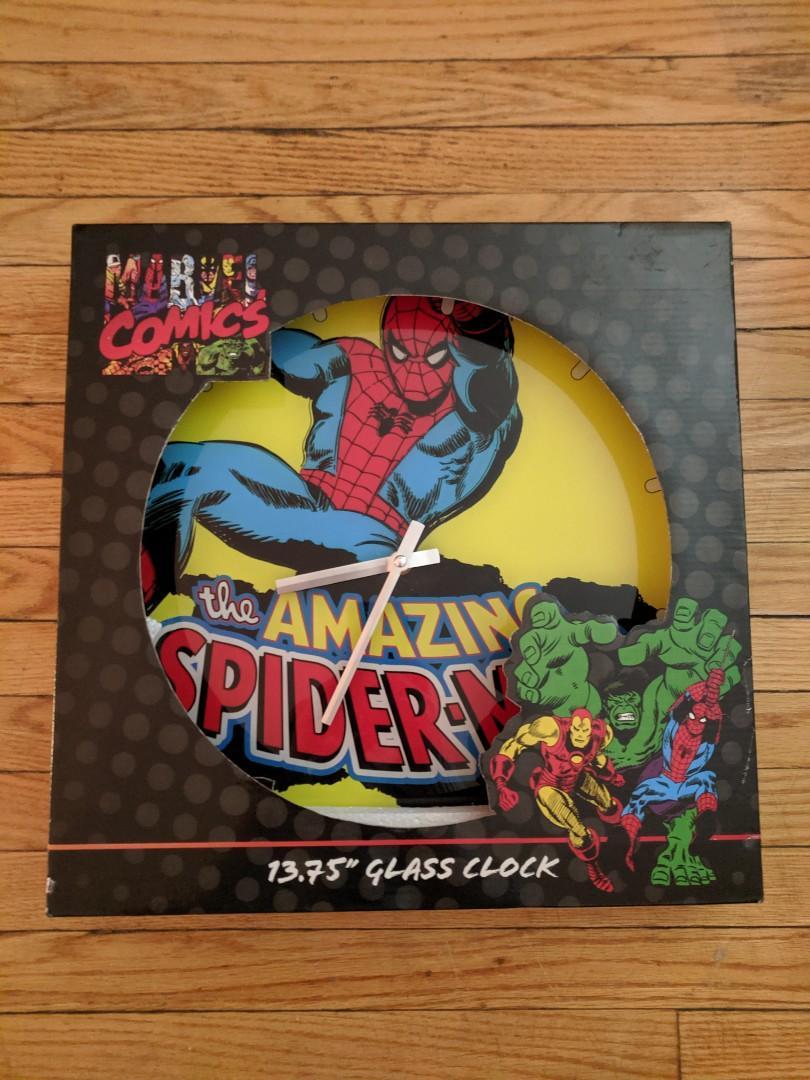 "Marvel Comics The Amazing Spider-Man 13.75"" glass clock"