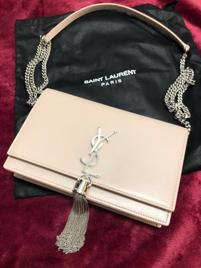 0206bad6680 New: YSL BLUSH PINK WALLET ON CHAIN WOC WITH TASSEL, Luxury, Bags ...