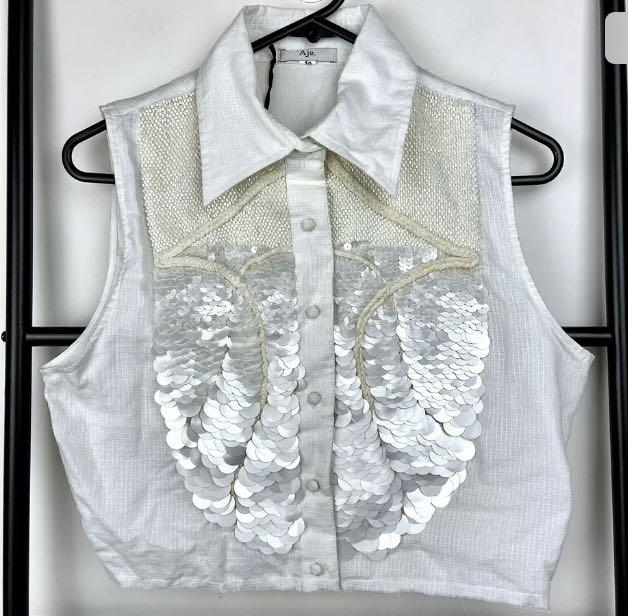 NWT Aje 10 Relinquished Top white sequin crop tank top designer fashion RRP$390