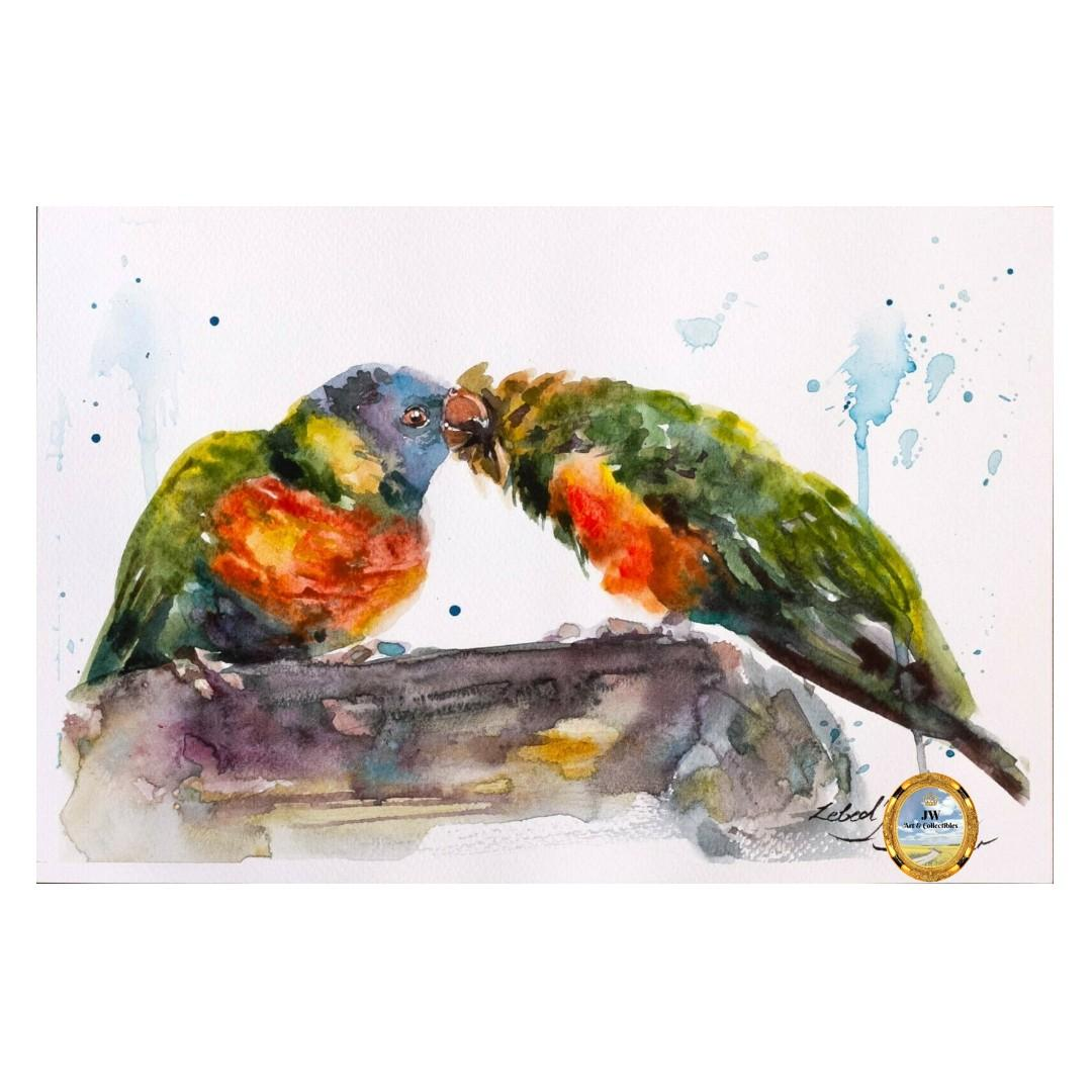 Painting - Loving Parrots