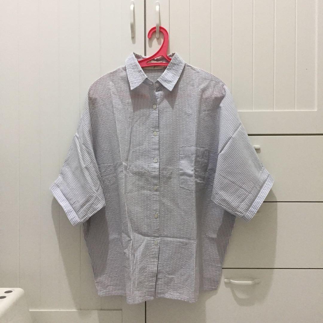 Ponytale blue striped stripes madison oversized shirt