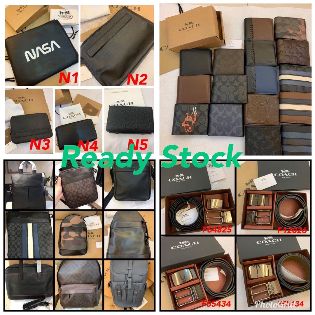 (Ready Stock Raya promotion) Authentic Coach men wallet belt handbag sling bag crossbody bag backpack traveller bag wallet purse card holder belt