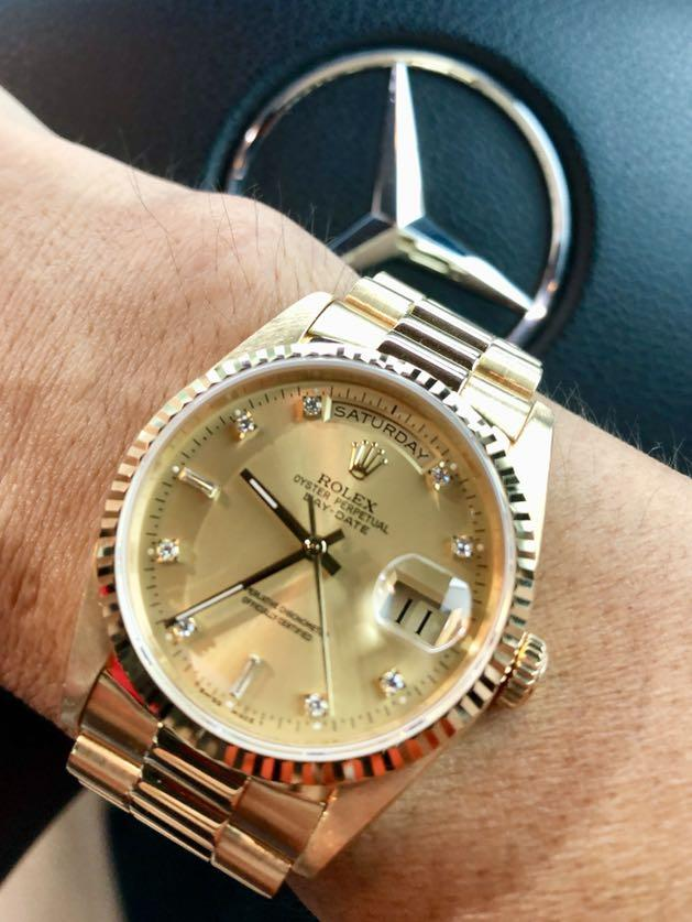 Rolex Day-Date President 18238 Full Gold 18k Diamond Marker Dial Rolex DayDate King Double Quick Set