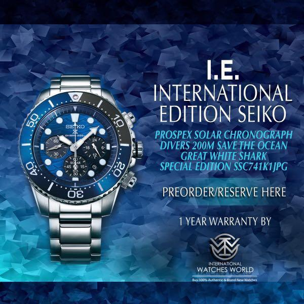 SEIKO INTERNATIONAL EDITION PROSPEX SOLAR CHRONOGRAPH 200M DIVER SAVE THE OCEAN GREAT WHITE SHARK SPECIAL EDITION SSC741K1