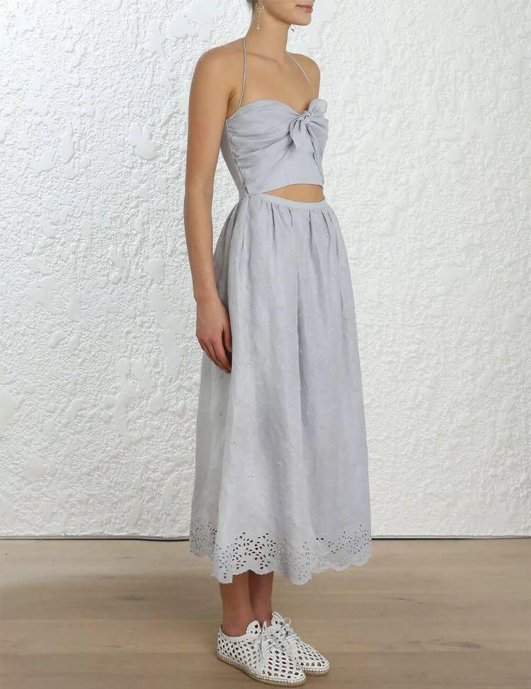 (SIZE 1) BNWT ZIMMERMANN Iris Sky Blue Tie Picnic Dress