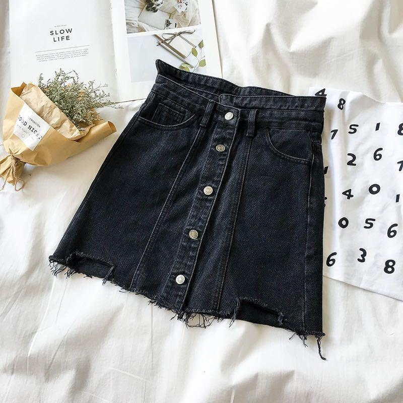 ulzzang button down denim skirt