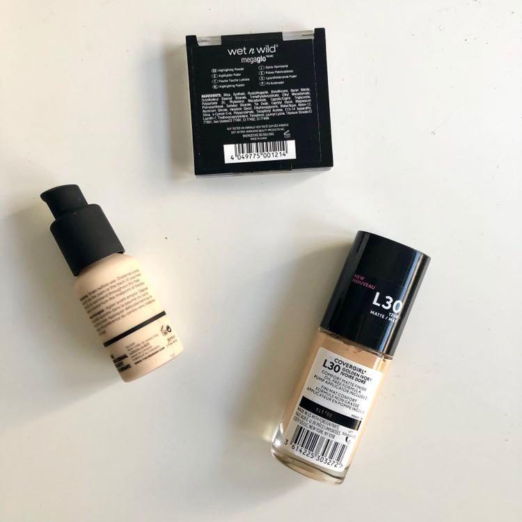 Wet n wild highlighter, Covergirl foundation, The Ordinary foundation