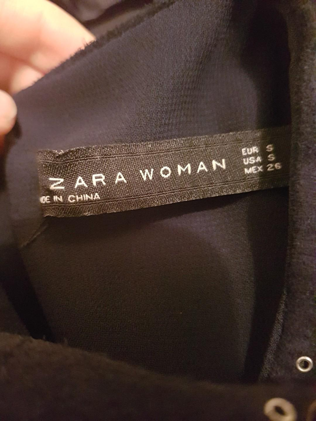 Zara Navy Suede Shift Dress eyelets and cutouts size S