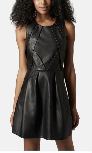 TOPSHOP Black Leather Skater Dress