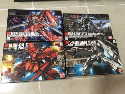 5算發售 共4盒 全新未砌 Hguc 1/144 sinanju 新安洲 sazabi 沙剎比 hg 高達模型 hws fa RX-93 nu Gundam 馬沙之反擊 z plus zeta char unicorn 獨角獸 可變形 mg rg 高達
