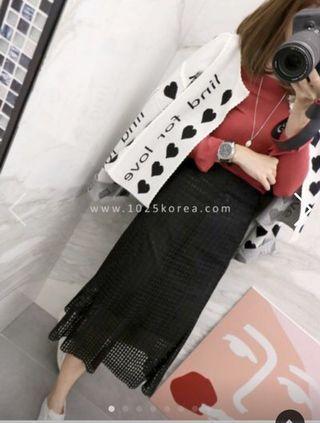 🚚 轉賣。1025Korea 布面蕾絲長裙-黑