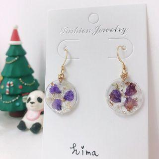 【手作商品】金箔紫花白色滿天星圓形透明耳環
