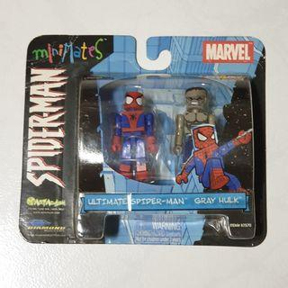SEALED Yr 2003 SDCC Exclusive Minimates Ultimate Spider-man & Gray Hulk by Psycho Toyz for Crazy Kids Art Asylum