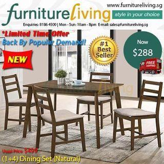Furniture Living New (1+4) Dining Set - Natural