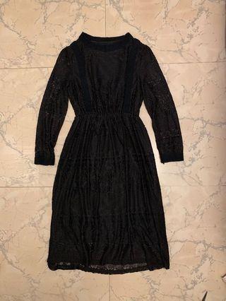 Black lace long sleeve dress 黑色喱士連身裙