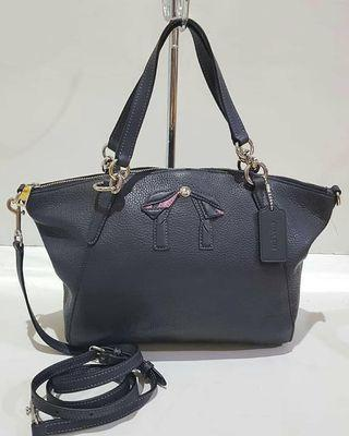 COACH Small Kelsey Genuine Leather Satchel - Navy