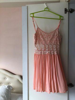 Topshop lace skater dress in coral