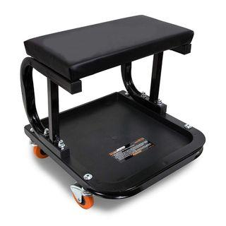 Creeper Seat Garage Seat Shop Glider Stool Motorcycle Car DIY Repair Detailling Workshop Mechanic Wheel Wheeled Rolling Chair Seat Black [44% DISC]