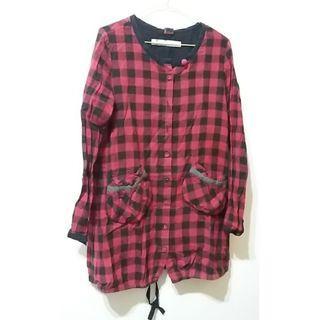 (二手)a la sha長版格子洋裝,可當罩衫外套,尺寸m